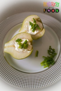 Prepare the pear with creme fraiche & chopped chives